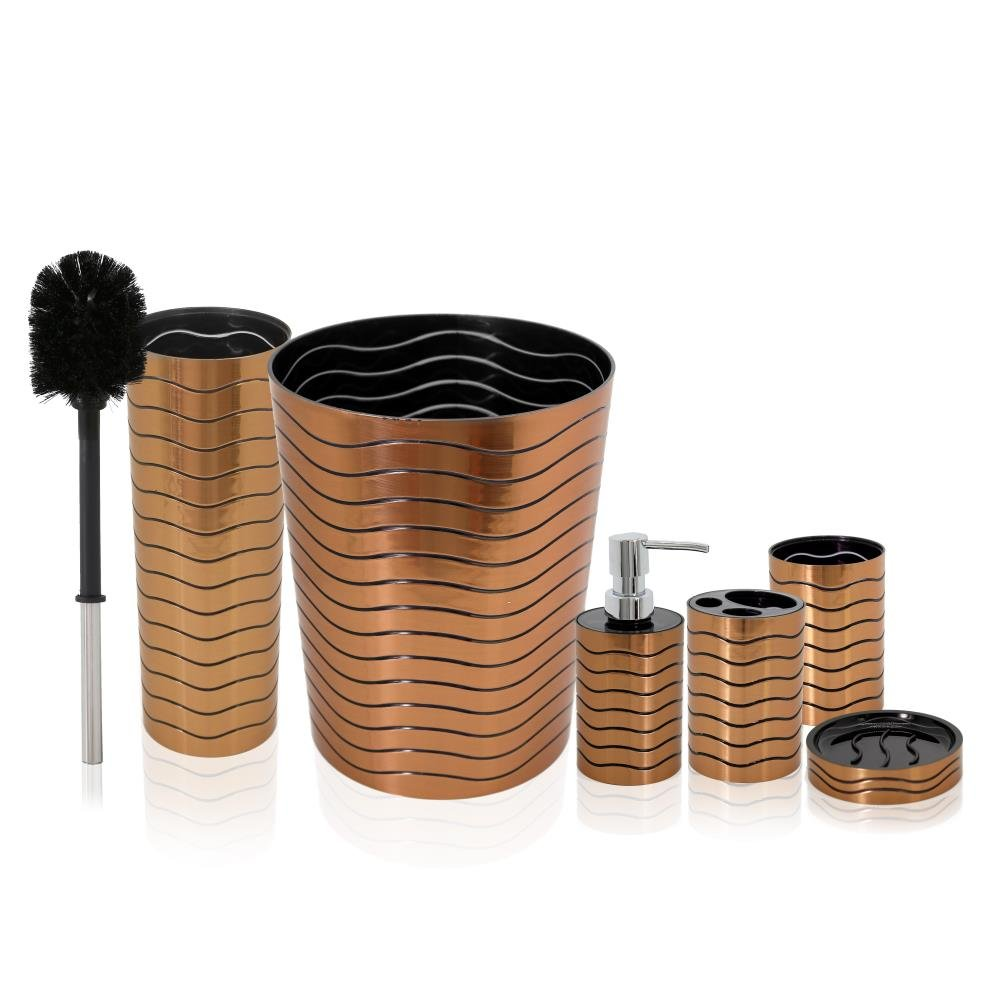 SereneLife 6 Piece Bathroom & Sink Accessory Set - Bronze Finish Modern Vanity Accessories Kit Include Tumbler, Toothbrush & Toilet Brush Holder, Lotion Dispenser, Soap Dish & Trash Bin - SLBATAC05