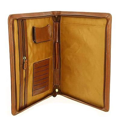 5d360268dfd LIVAN® - 6115 - Conférencier organiseur classeur - Trieur Range Documents  Format A4 - pochette zippée en cuir vachette femme homme (marron  (26X34X4cm))  ...
