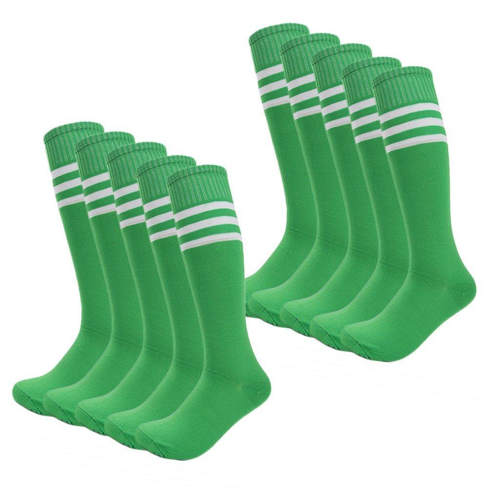 Kids Soccer Socks Wholesale 50 Pair Teenager Knee Long Compression Team Socks (Green)