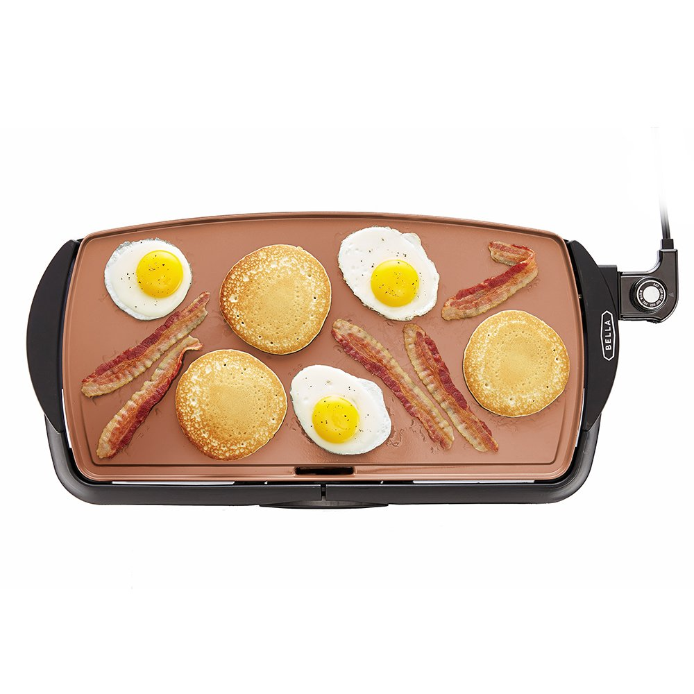 BELLA 14606 Copper Titanium Coated Non-Stick electric-griddles, 10.5 x 20 INCH,