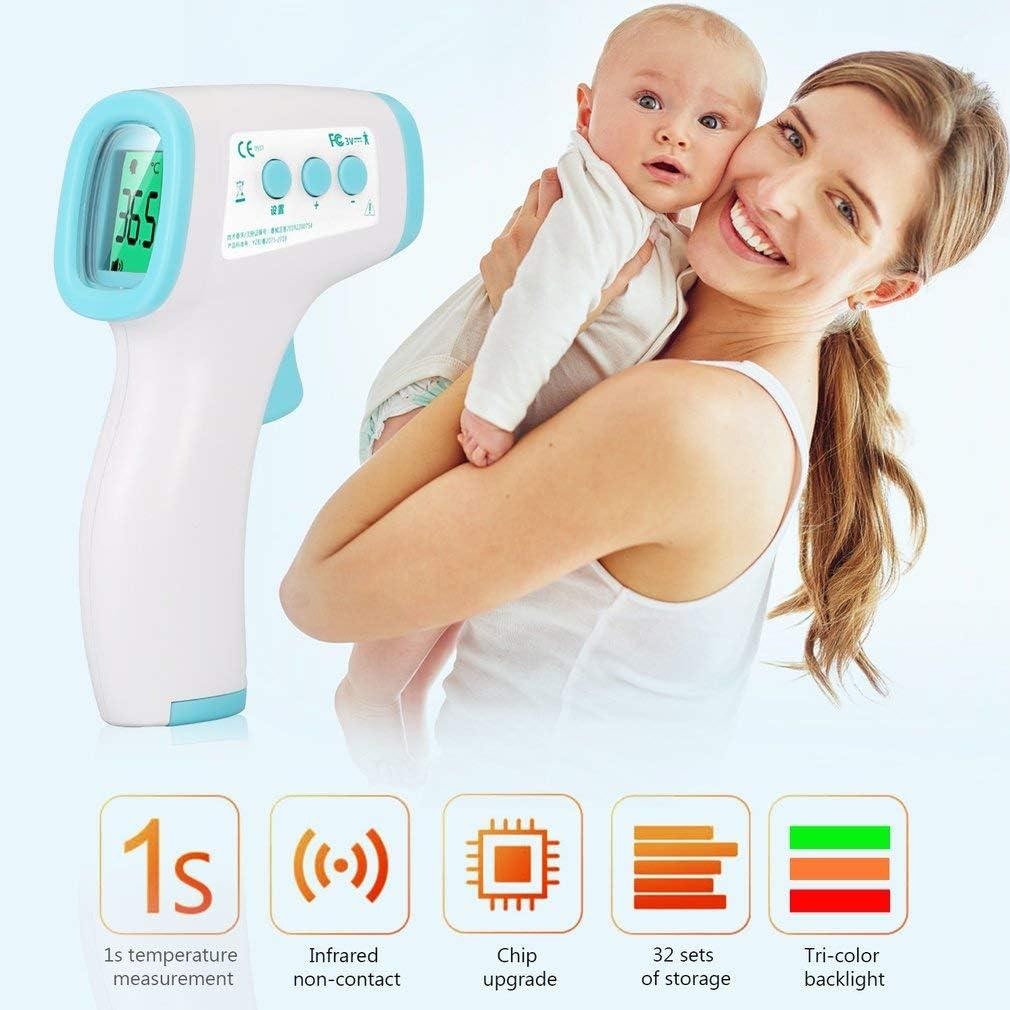 Thermometre Frontal avec Affichage /à LED Thermometre Num/érique pour B/éb/é et Adultes Greens Thermom/ètre Frontal Infrarouge avec batterie sans Contact Professionnel