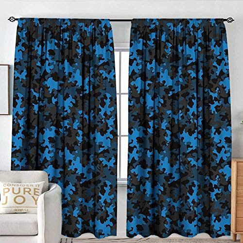 Blackout Thermal Insulated Window Curtain Valance Camouflage,Dark Toned