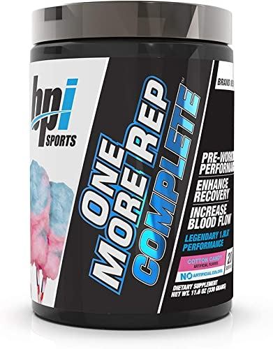 BPI Sports One More Rep Complete Pre-Workout Powder - Citrulline Beta-Alanine Caffeine Nitrosigine S7 Endurance, Strength, Pump, Focus for Men Women Cotton Candy - 20 Serv 11.6 Oz