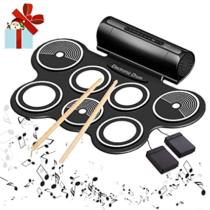 Amazon Com Electronic Drum Set For Kids Roll Up Beginner Drum Set