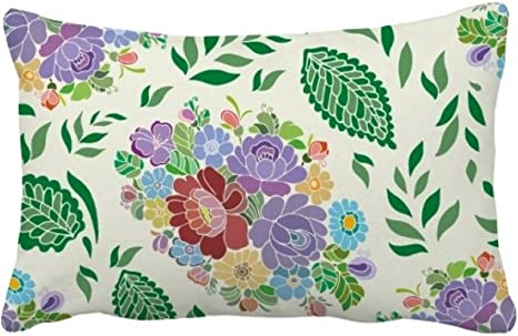 Amazon Com Diythinker Chinese Japanese Style Flowers Leaves Pattern Throw Pillow Lumbar Insert Cushion Cover Home Decoration Home Kitchen
