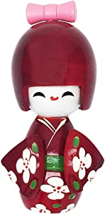 """COMOK Crimson Japanese Floral Kimono Sweet Smiling Girl Wooden Kokeshi Doll Toy for House & Office Decoration Handicraft Ornaments, 3.58"""" x 1.5"""""""