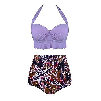 BENGKUI Bikini,Violeta, Flor Botánico Bikinis Mujeres De Cintura ...