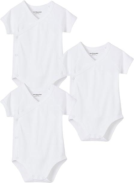VERTBAUDET Lote de 3 bodies blancos de manga corta Colecci/ón Bio beb/é reci/én nacido Blanco PREMATURO 45CM