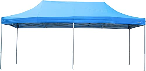 Pupzo Pop-Up Canopy Tent Gazebo 10×20 Portable Adjustable Carrying Bag Waterproof Party Camping Shelter Canopy Blue