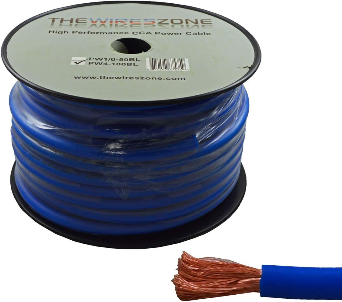 4 Gauge 100 Feet Wire High Performance Flexible Amp Power Ground Cable 4 AWG Blue