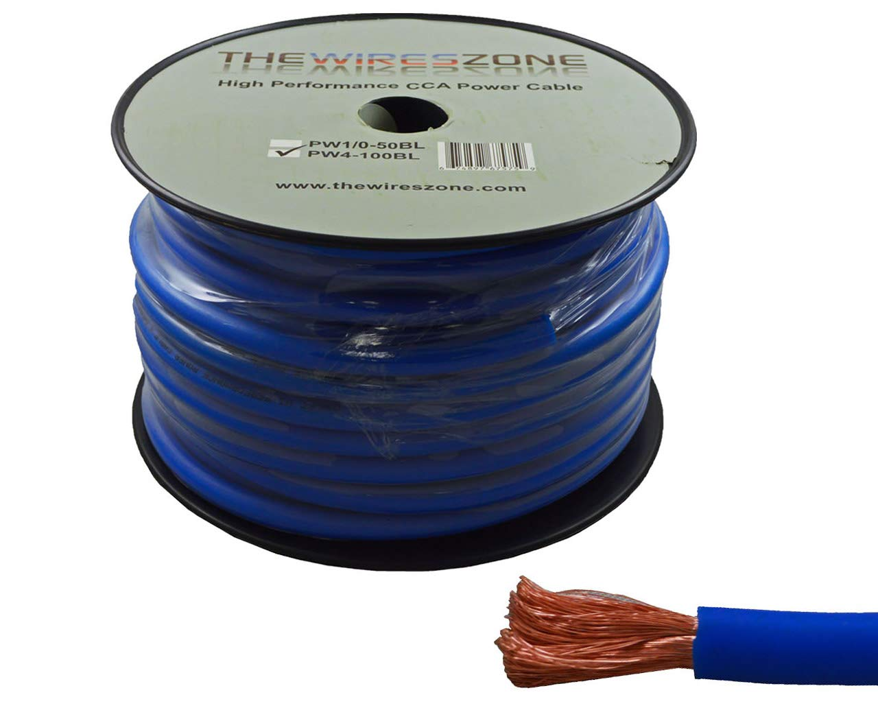 4 Gauge 100 Feet Wire High Performance Flexible Amp Power Ground Cable 4 AWG (Blue) by The Wires Zone