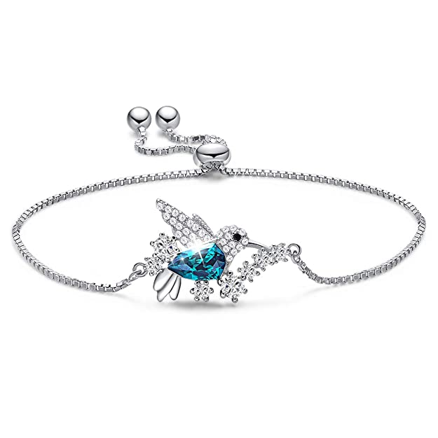 CDE Hummingbird S925 Sterling Silver Swarovski Necklaces Bracelet Crystals Animal Pendant Necklace Fine Jewelry Set Gifts for Women Girls