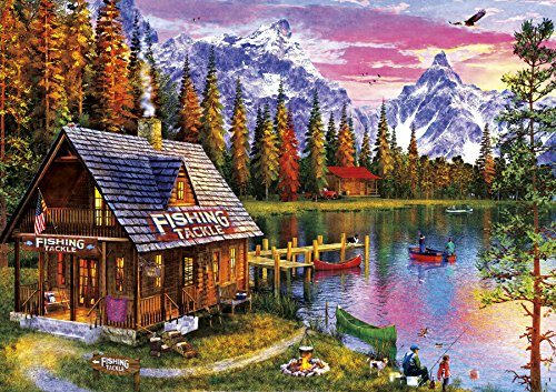 Buffalo Games - The Fishing Hut - 300 Large Piece Jigsaw Puzzle by Buffalo Games