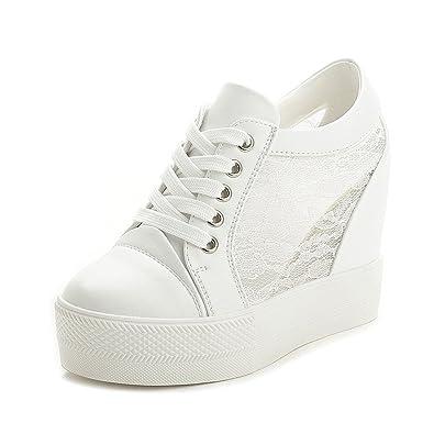 0e1ad8c280f6 PP FASHION Women s Low Top Mesh Lace Hidden Heel PU Wedges Platform Sneakers  White US 4.5