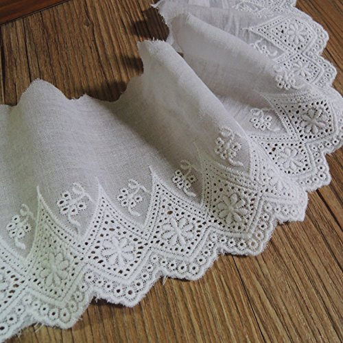 3 Yards of 10cm Width Retro Embroidery Cotton Fabric Lace Eyelet Trim (Eyelet Lace Border)