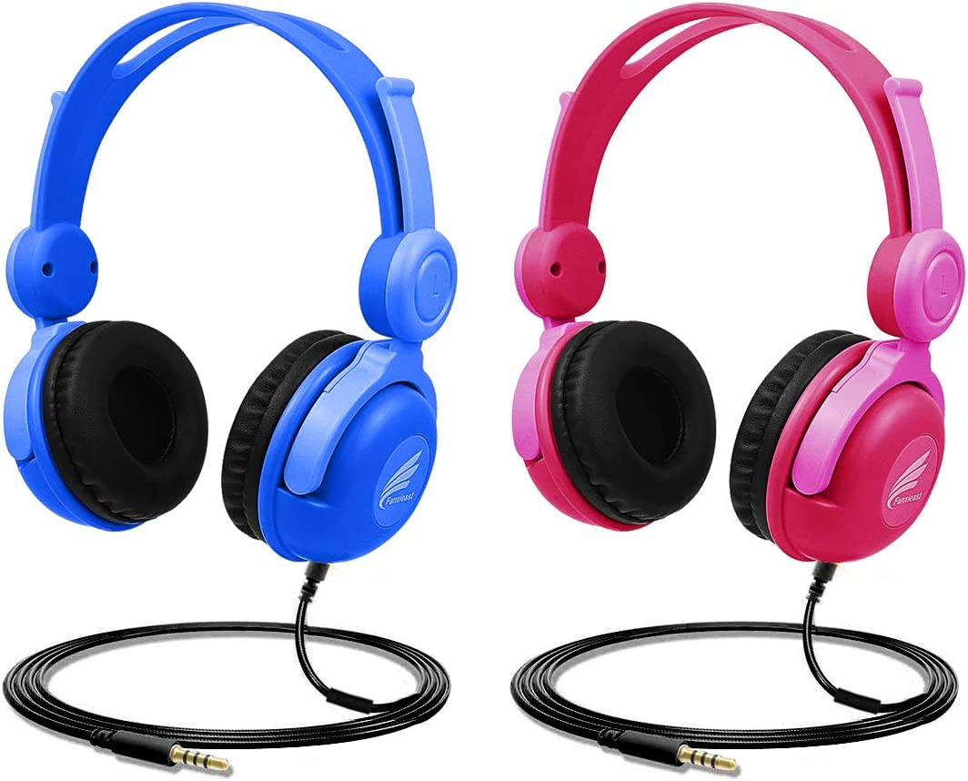 Kids Headphones,Fanxieast 85dB Volume Limit Wired Over Ear Headphones, Food Grade Material, 3.5 mm Audio Jack Suit for Pad Phone Plane School Media Center Blue and Red