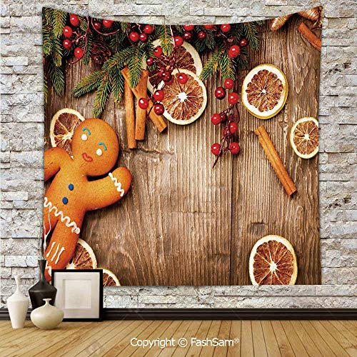FashSam Tapestry Wall Hanging Rustic Composition with Holly Berry Orange Slice Cinnamon and Biscuit Decorative Tapestries Dorm Living Room Bedroom(W59xL78)