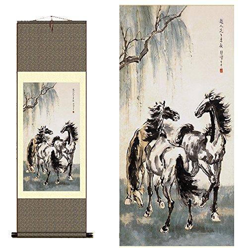 Sunmir (TM Silk Scroll Painting Xu Beihong's Painting of Mo Ma