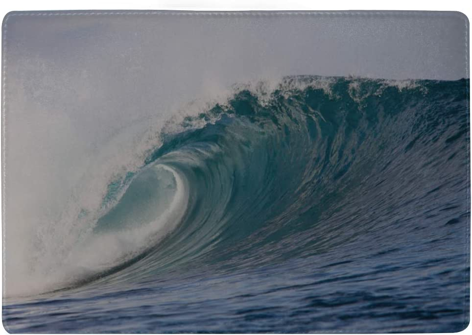 Big Breaking Ocean Wave On A Beach Blocking Print Passport Holder Cover Case Travel Luggage Passport Wallet Card Holder Made With Leather For Men Women Kids Family