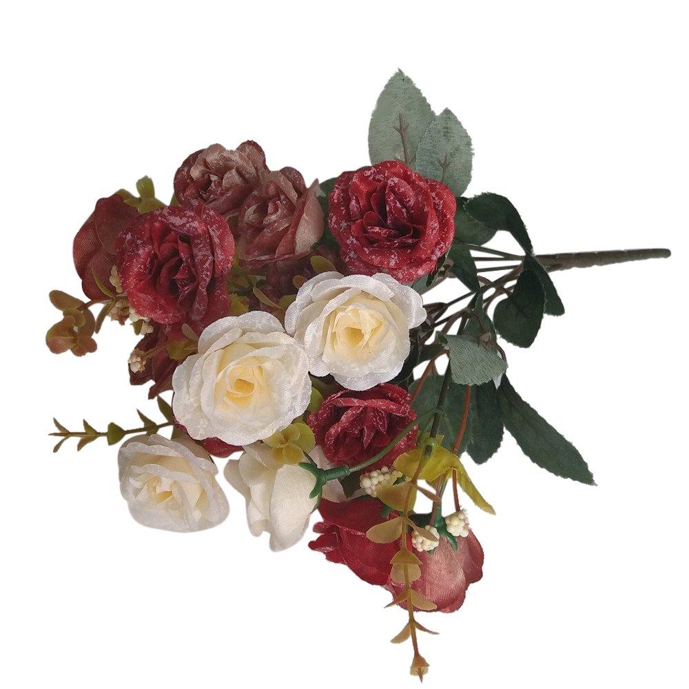 1 Manojo 18 De Cabeza Rosas Ramo Flores Artificiales Decoración Boda