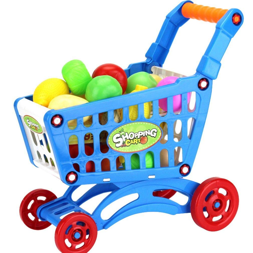 Xiang Ru Portable Shopping Cart Toy Sets Fruit Vegetable Accessories Pretend Play for Children Blue Cart#L with 24pcs Food