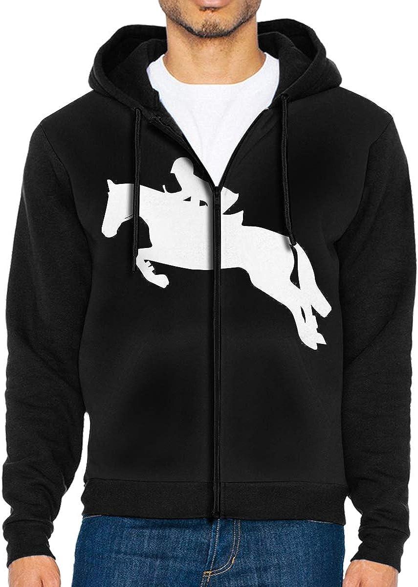 LD6DBGK Horseback Riding Horse Mens Full Zip Fleece Hoodie Shirts