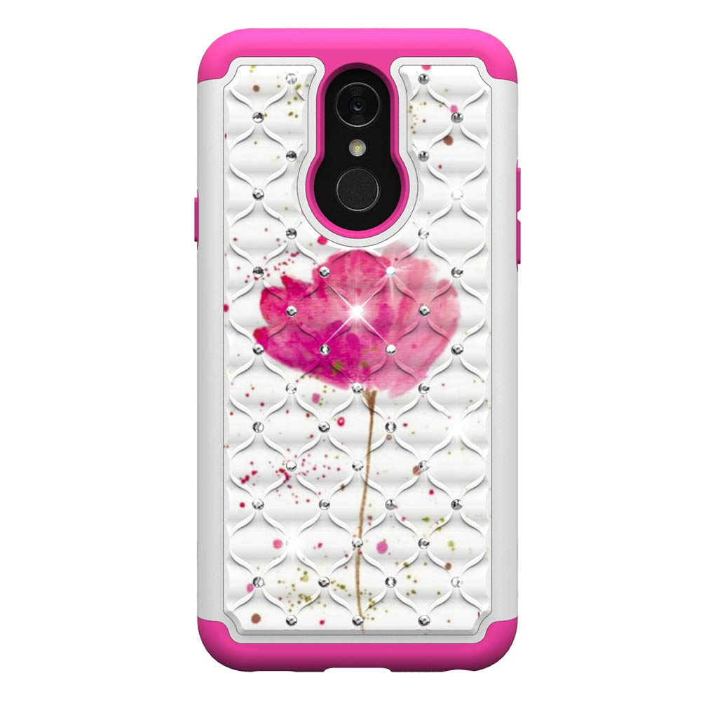 LG Q7 Plus Case,Tznzxm 2 in 1 Dual Layer Anti-Scratch Heavy Duty Hard PC Soft Silicone Shockproof Bling Diamond Sparkly Defender Anti-Fingerprint Protective Case For LG Q7 Plus G Butterfly LG Q7 Case