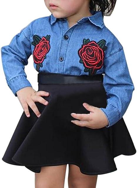 Hemlock - Camisa Vaquera con Faldas para niñas, Cuello ...