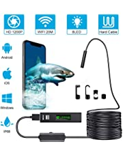 WiFi Endoscope Camera Mini Waterproof Hard Wire Wireless 8mm Lens 8 LED Borescope Camera for Android iOS PC HD 1200P (3.5M)