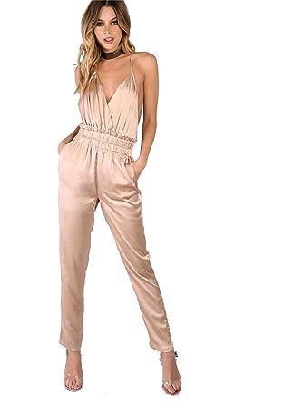 79e768ead55b Amazon.com  Romwe Women s Backless Long Romper Bodysuits Satin Sexy Jumpsuit  Light Pink M  Clothing