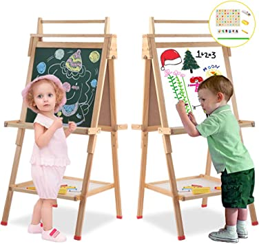 Wooden Art Easel Children Easel With Magnetic Chalkboard Kids Black White Board Easel With Paper Roll Numbers Other Accessories For Kids Toddlers