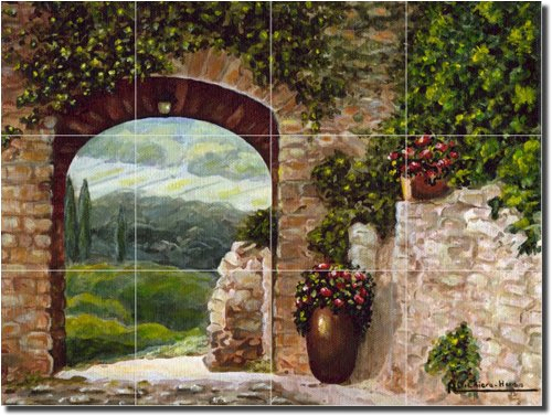 ''Tuscan Arch'' by Angelica Di Chiara-Hardin - Artwork On Tile Ceramic Mural 12.75'' x 17'' Kitchen Shower Backsplash