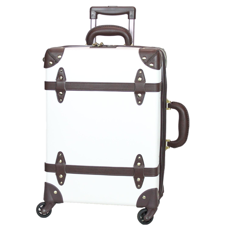 MOIERG(モアエルグ) 軽量 キャリーバッグ 容量UP YKK使用 キャリーケース スーツケース 3年保証 B06XHV156C M|ホワイト/ブラウン ホワイト/ブラウン M