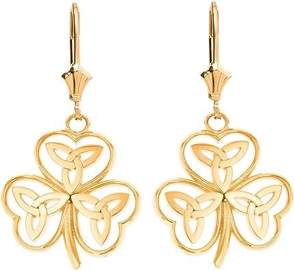 14k Yellow Gold Irish Celtic Inspired Dangle Earrings