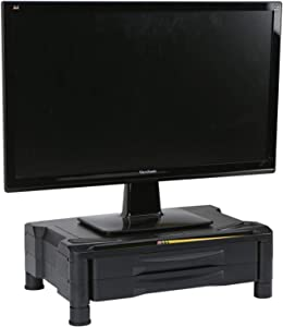 Mind Reader 2DRPLMONST-BLK 2 Drawer Tier Plastic Monitor Stand with Storage for Computer, Laptop, Desk, iMac, Dell, HP, Printer, Black,