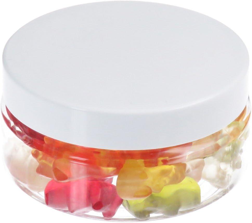 Tarros de 100 ml de PET transparente, con tapa de plástico blanco, plato, 10 piezas