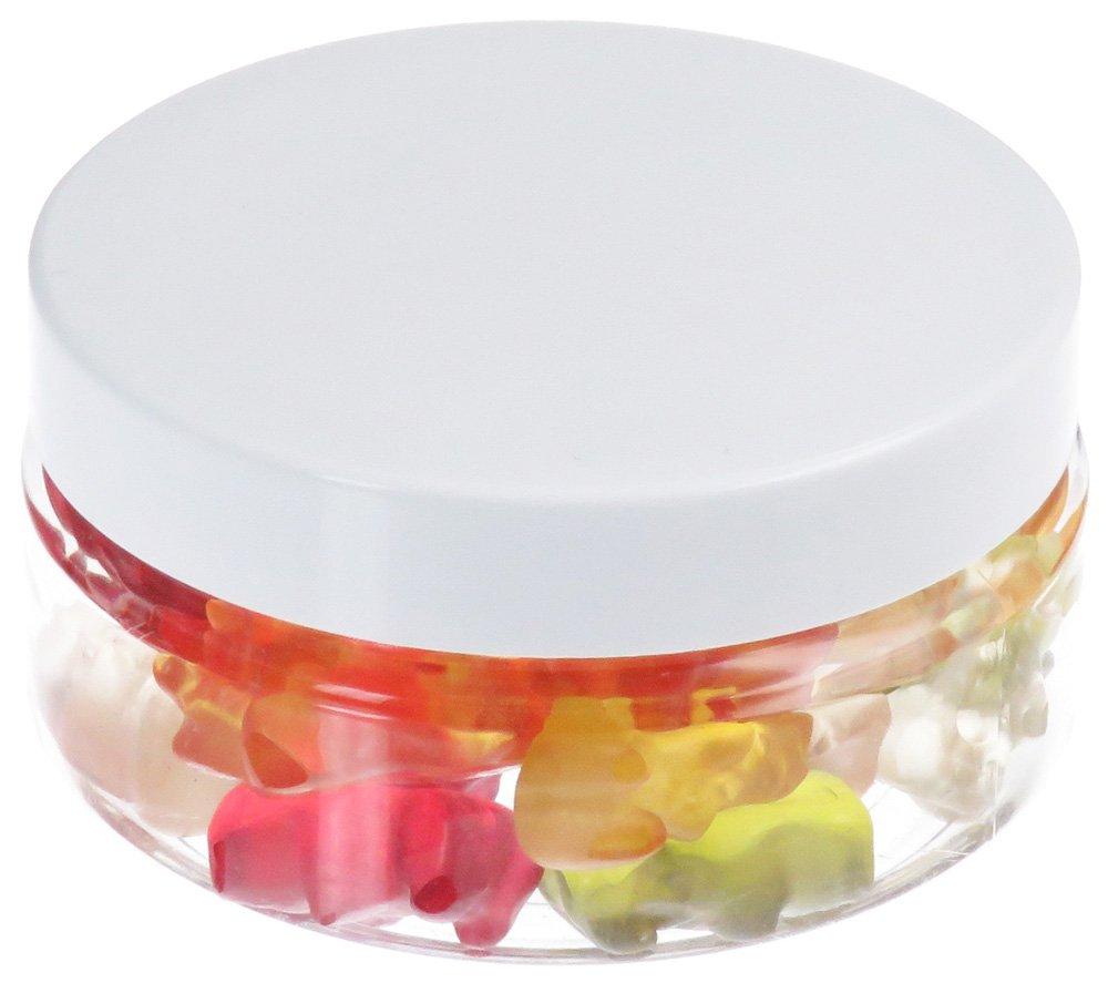 100 ml PET Tiegel transparent, flach, mit Plastikdeckel, weiß, 10 Stück weiß 10 Stück Pohli
