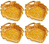 Martha Stewart Collection Harvest Leaf Appetizer Plates, Caramel Brown (Set of 4)