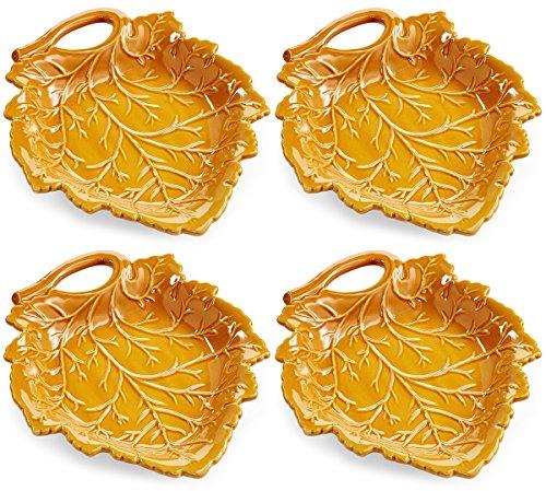 Martha Stewart Collection Harvest Leaf Appetizer Plates, Caramel Brown (Set of 4)