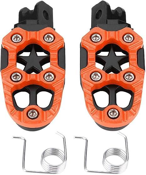 arancione e argento 1 paio di pedalini poggiapiedi in lega di alluminio pedali 8mm fori di montaggio universali Colore : Argento Pedane