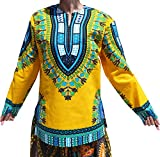 RaanPahMuang Open Collar Long Sleeve African Dashiki Print Dance to Afrika Shirt, X-Large, Buff Yellow