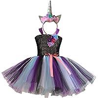 MFEU Costume da Ragazza per Bambini Rainbow Set, Tutu di Balletto Abiti + Fascia Unicorno per Festa