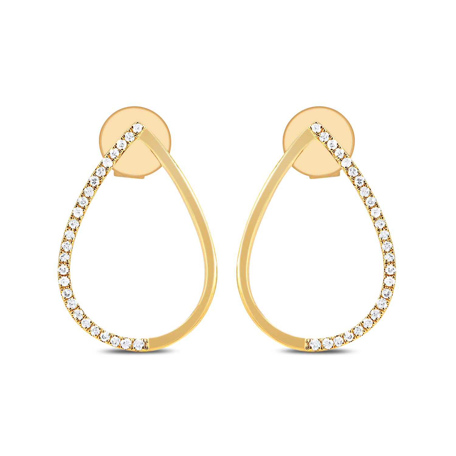DIAMOND COUTURE 14K Yellow Gold 0.10 Carats of Sparkling White Diamonds Teardrop Earrings for Women, I-J Color, I1-I2 Clarity