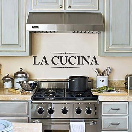 Amazon Com Tiukiu La Cucina Kitchen Quote Wall Art Vinyl Decal Sticker Home Decor