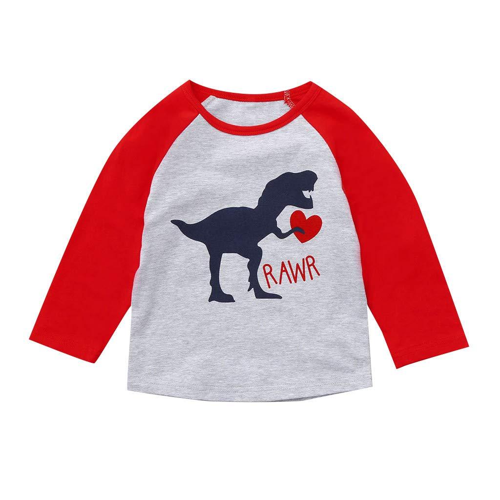 Jchen Family Matching Valentine T-Shirt Men Women Kids Letter Dinosaur Print Couple Parent-Child Tops for Birthday Valentine (Age:4-5 Years Old, for Kids)