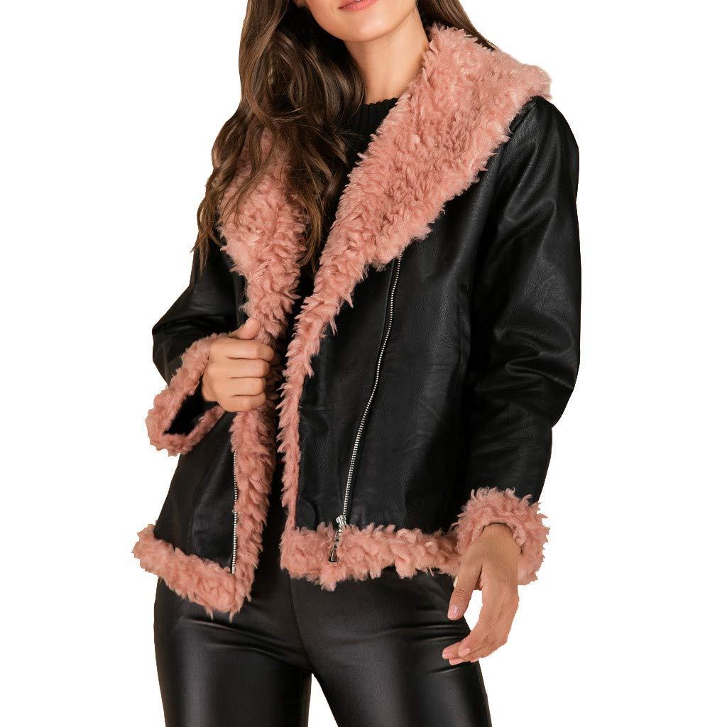 Redacel Women Leather Jacket Coat Casual Warm Long Sleeve Outwear Overcoat Top Blouse(XXL,Black) by Redacel