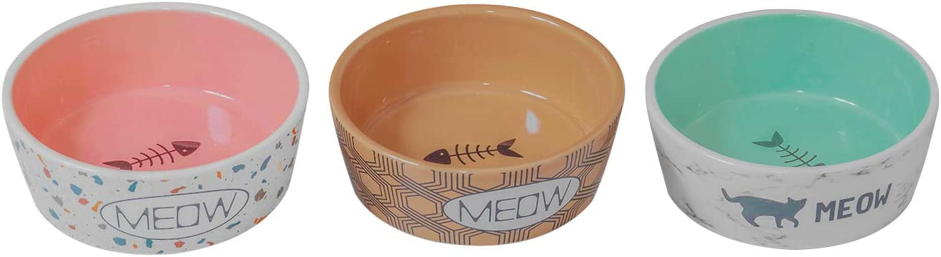 SanFeng Ceramic Pet Bowls Cat Water Bowls Cat Bowls for Food and Water , Cat Slow Feeding Bowls, Wide Cat Dish, Set of 3, for Indoor Cats or Dogs (Fashionable Designs)