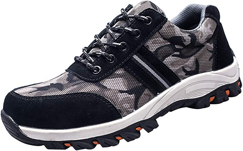 Men/'s Camouflage Safety Shoe Steel Toe  Work Boots Indestructible Light Sneakers