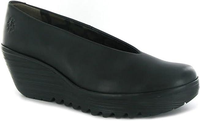 Fly London Yaz Black Leather Womens