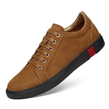 YAN Zapatos de Hombre Low-Top Sneaker Suede Fall & Winter Trainers Smart Casual Lace